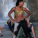 Alexandra Burke Shooting the Let It Go Video in 2012