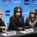 """Musicians Tommy Lee, Vince Neil, Mick Mars and Nikki Sixx pose for photographs at the press conference held by Motley Crue to announce """"Crue Fest 2"""" at Fuse on March 16, 2009 in New York City"""