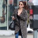 Sarah Hyland in Animal Print Coat – Out in Los Angeles