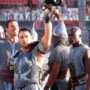 Gladiators Hagen (Ralf Moeller), Maximus (Russell Crowe) and Juba (Djimon Hounsou) in Dreamworks' Gladiator - 5/2000 - 400 x 267
