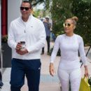 Jennifer Lopez in White Tights with Alex Rodriguez at a Gym in Miami - 454 x 682