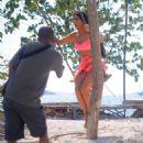 Kim Kardashian in Pink Bikini at the beach in Bali