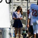 Lea Michele On Set Of Glee In Los Angeles