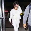 Selena Gomez in White – Arriving at JFK airport in New York
