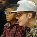 Justin Bieber at The Los Angeles Clippers vs The Boston Celtics Staples Center in Los Angeles,Dec.27,2012