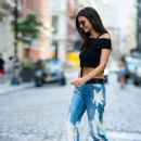 Victoria Justice in Jeans and Black Crop Top out in New York City