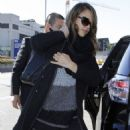 Jessica Alba is Comfy & Casual in Black at LAX