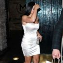 Ariel Winter -In Tight White Dress while outside Mastros Restaurant in Beverly Hills