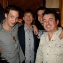 James Jagger, Mick Jagger, William Meredith and Shane Richie pose backstage following ''Lone Star & PVT. Wars'' at the King's Head Theatre on September 5, 2007 in London, England - 454 x 329