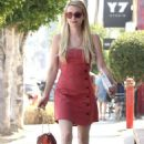 Emma Roberts in Red Mini Dress – Out in Silverlake