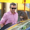 'Machete Kills' actress Jessica Alba and her husband Cash Warren have a romantic lunch date at M Cafe in Beverly Hills, California on August 1, 2013. The happy couple weren't afraid to show some PDA before making their exit!