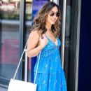 Myleene Klass – Wearing a blue fress while arriving at Global Radio Studios in London