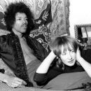 Jimi Hendrix and Kathy Etchingham in his Mayfair flat, London, 7th January 1969 - 454 x 384