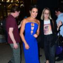 Lea Michele in Blue Dress – Leaves 'Watch What Happens Live' in NYC