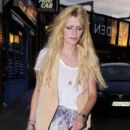 Mischa Barton looks a bit worse for wear as she carries a box of guacamole while leaving the Hawley Arms pub in Camden around 8:30 pm