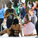 Amber Rose In Pink Dress Relaxing By The Pool In Miami