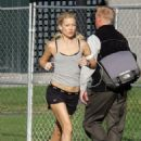 Kate Hudson In Track Shorts On The Set Of 'Bachelor No. 2' - Sep 24 2007