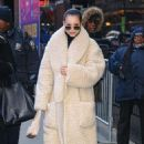 Sofia Carson in Long Fur Coat – Out in New York