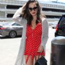 Olivia Munn in Red Mini Dress at LAX airport in LA