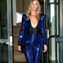 Rosie Huntington Whiteley in baring blue sequin jumpsuit out in NYC