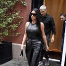 Kim Kardashian in Black Leather Pants – Out in NYC