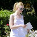 Elle Fanning in White Dress out in LA - 454 x 591