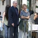 Sofia Vergara and Ed O'Neill filming a scene on the set of 'Modern Family' in Beverly Hills, California on August 7, 2014