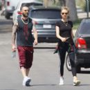 Behati Prinsloo and Adam Levine – Heads to morning Pilates workout in Studio City - 454 x 438