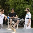 Seth Rogen, Jay Baruchel and Director Judd Apatow on the set of Knocked Up - 2007