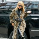 Rosie Huntington Whiteley in Leopard Print Coat out in NY