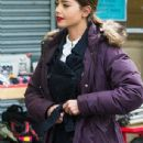 Jenna Coleman filming Doctor Who series 9, May 8 2015