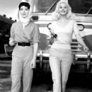 """Joan Collins and Jayne Mansfield on the set of """"The Wayward Bus"""", 1957"""