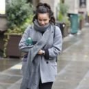 Georgia May Foote in Grey Coat – Out and about in Manchester - 454 x 757