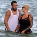 Amber Rose and French Montana on the beach in Miami, Florida - May 14, 2017 - 454 x 482