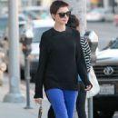 Anne Hathaway leaving BIbigo Korean BBQ in Beverly Hills, California (June 20)