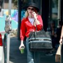 Emma Roberts in Red Sweaters – Out in Los Feliz