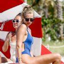 Toni Garrn in Blue Swimsuit on the beach in Miami - 454 x 681