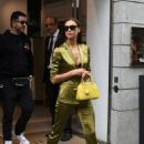 Irina Shayk in Green Suit in Via Montenapoleone in Milan