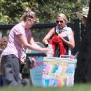 Nicole Richie is spotted taking her children Sparrow and Harlow to the Kidspace Children's Museum in Pasadena, California on July 22, 2015 - 454 x 345