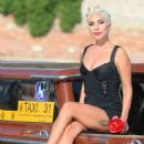 Lady Gaga on a water taxi in Venice