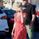Reese Witherspoon in Red Mini Dress – Leaving a dinner in Los Angeles