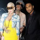 Amber Rose, Wiz Khalifa, and Trey Songz at Cameo Nightclub in Miami, Florida - January 28, 2012 - 454 x 680