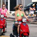Vanessa Hudgens, Selena Gomez and Ashley Benson film Spring Breakers March 13, 2012 in Vespas in Florida