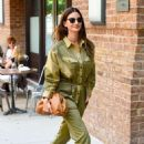 Lily Aldridge in Green Outfit – Out in New York City - 454 x 694