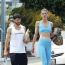 Jaime King in Blue Tights and Sports Bra – Out in Los Angeles - 454 x 681