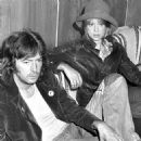 Eric Clapton and Pattie Boyd in the VIP Lounge at Dublin Airport. Following the charity show Circasia '75 at Straffan House on Sept. 14th, in which EC appeared as a clown