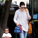 Sandra Bullock: picks her son Louis up from school