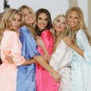 Victoria's Secret Angels Stella Maxwell, Martha Hunt, Alessandra Ambrosio, Elsa Hosk and Romee Strijd land at Cinecitta Studios on July 23, 2015 in Rome, Italy