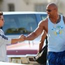 Mark Wahlberg and Dwayne Johnson aka 'The Rock' film scenes on the set of their new movie 'Pain and Gain'