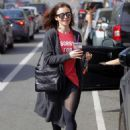 Lily Collins Leaves workout in Beverly Hills - 454 x 612